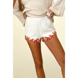 Woven Shorts with Rose Embroidery Details